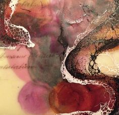Part of the One Hundred Series: Encaustic over watercolor with alcohol ink, vintage letters, and shellac. Katie C. Gutierrez, 2014