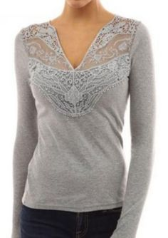 Lace Splicing Hollow V-Neck T-Shirt