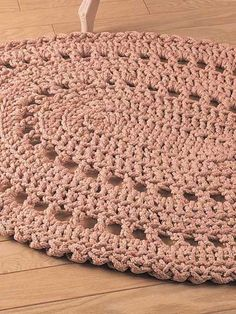 Crocheted Pretty Lil Rug - Q hook n craft cord - great for beginners :D