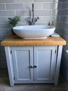 Rustic Chunky Farrow & Ball Painted Solid Wood Bathroom Washstand Vanity Sink Unit any colourNot included sinks/taps MEDIUM 6 SIZES Sink Vanity Unit, Bathroom Sink Cabinets, Bathroom Vanity Units, Bathroom Basin, Wood Bathroom, Small Bathroom Vanities, White Bathrooms, Luxury Bathrooms, Master Bathrooms