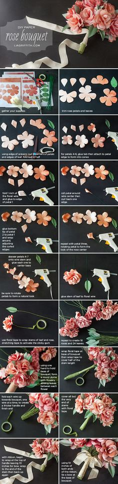 DIY Paper Rose Wedding Bouquet- great for a little girl that wants to dress as St. Therese of Lisieux for All Saints Day! diy bouquet How to Make a Paper Rose Wedding Bouquet - Lia Griffith Paper Bouquet Diy, Paper Flowers Diy, Handmade Flowers, Felt Flowers, Flower Crafts, Diy Paper, Fabric Flowers, Paper Crafts, Diy Crafts