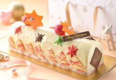 Cherry Ivory Chocolate Log Cake