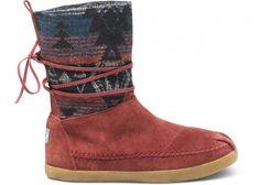 Burgundy Suede Jacquard Women's Nepal Boots | TOMS.com #toms