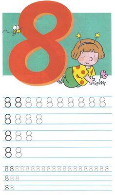 schrijfoefening 8 Numbers Preschool, Math Numbers, Preschool Math, Math Classroom, Phonics Song, Alphabet Phonics, Kids Learning Alphabet, Baby Learning, Math Games