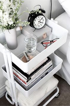 Cheap bedroom nightstand idea - use a tiered rolling cart