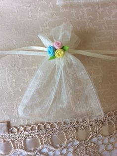 """25 3"""" x 4"""" Ivory Organza Bags with Flowers Decorations Use as Party Favors 