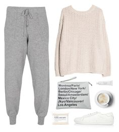 """""""Comfy Sunday"""" by bellamarie ❤ liked on Polyvore featuring Yves Saint Laurent, MANGO, 360 Sweater, Fig+Yarrow and Byredo"""