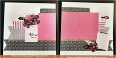 Beautiful You! - Double Page Layout with CTMH La Vie En Rose paper packet  With gold shimmer trim and pink enamel gems, and some flowers cut from the Artistry Cricut cartridge