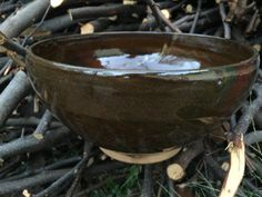 Wheel-thrown large bowl with rich brown by SpinningSongPottery