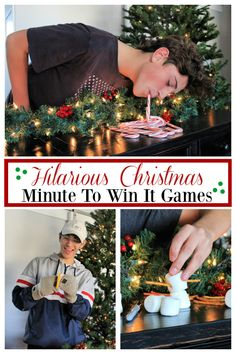 Hilarious Minute To Win It Christmas Games : Hilarious Christmas Minute to win it games. These fun Christmas party games are perfect for all ages. Fun and simple christmas minute to win it games are a blast to play. Fun Family Christmas Games, Christmas Party Ideas For Teens, Adult Christmas Party, Christmas Gifts For Teen Girls, Holiday Games, Christmas Couple, Christmas Holidays, Simple Christmas, Minute To Win It Games Christmas