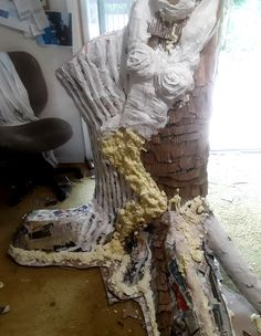 """#NakedTrees has taken over the studio. Coming to Orlando September 20. Here is the """"I am"""" tree being created. Adding Celluclay and Plaster Fabric."""