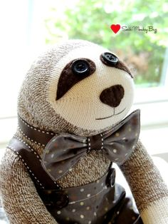 Sock Monkey Sloth Doll Due to the sloths eyes and buttons on his trousers, this toy is not suitable for babies or smaller children. Made