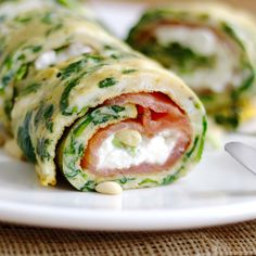 Spinazie omelet met zalm en cottage cheese