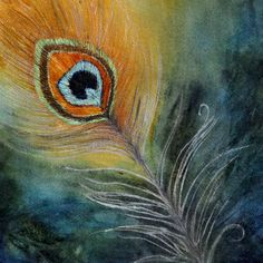 Peacock Feather.  Original watercolor painting by artist Laura L. Shepler on Etsy.