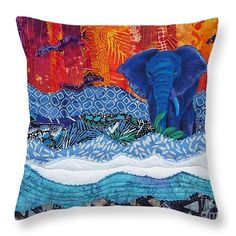 "Elephant Walk 14"" x 14"" Throw Pillow by Susan Rienzo. Multiple sizes available."