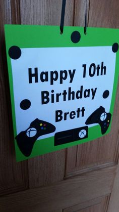 Gamer party sign. Birthday sign. Personalized gamer sign. Paper front door sign. Xbox party. Game truck party decor.