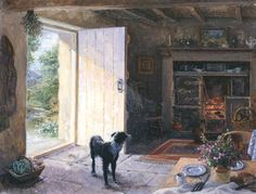 LUCY Anyone for a Walk  ¤¤¤§§§¤¤¤ Painting by Stephen J Darbishire RBA who lives, with his wife and family, in a 17c farmhouse hidden in the mountains of the English Lake District