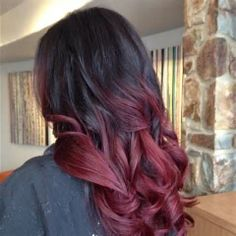 Styled and cut with dark red color added for ombre effect.