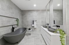 A lovely bathroom featuring our Mango stone bath and Vivian stone basins. Hidden Shower, Hidden Toilet, Bathroom Suppliers, Stone Bathtub, Luxury Bathtub, Stone Basin, Room Tiles, Tile Design, Basins