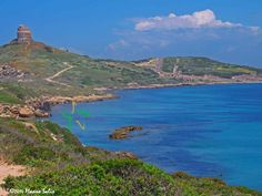 The promontory of the ancient Tharros and of the spanish stronghold tower of San Giovanni di Sinis