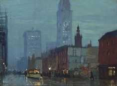 Charles Hoffbauer (1875-1957) Rainy Night in New York City signed 'Hoffbauer' (lower left) oil on canvas 12 x 16 in. (30.5 x 40.6 cm.) Painted circa 1912.