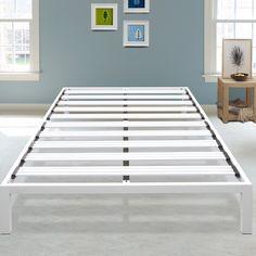 Latitude Run Hulme White Metal Platform Bed Frame Size: Twin Metal Platform Bed, Upholstered Platform Bed, Queen Platform Bed, Platform Beds, Wingback Headboard, Panel Headboard, Panel Bed, Folding Bed Frame, Bed Frame Sizes
