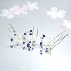 Bridal Hair Pins. Swarovski Crystal Hair Pins by flowershair, $33.00