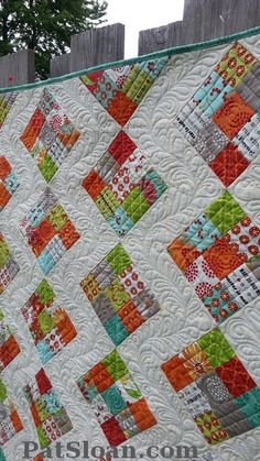 Pat Sloan: Stitched, new pattern coming soon. Uses a jelly roll and will have FOUR sizes! click to my blog to see 2 versions and find out who quilted them! http://blog.patsloan.com/2013/05/pat-sloan-two-ways-to-get-stitched-maybe-more.html