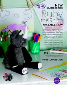 Scentsy Buddy Ruby #Rhino is ready for safari! Shop Scentsy products by visiting our online Scentsy store. Scentsy Buddy Ruby Rhino is a limited edition. #safari #limited #edition www.iamwickless.com
