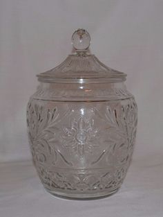 Vintage ANCHOR HOCKING Clear Floral Sandwich Pattern Glass Canister Cookie Jar  #AnchorHocking