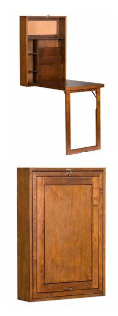 Convertible (hideaway) Desk, Walnut  | Handig walnoothouten bureau die kan worden weggewerkt.