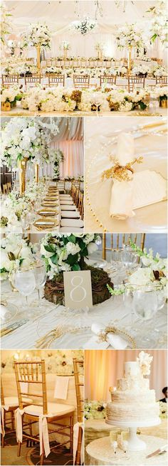 Incredible White Arrangements With Golden Accents.