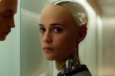 """The """"bot"""" in Ex Machina is Ava, played by Swedish actress Alicia Vikander - a beautiful synthetic human whose visible workings and metal skeleton show she is quite clearly a machine. Description from bbc.co.uk. I searched for this on bing.com/images"""