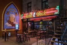 Le Saint-Bock is reputed to have the largest selection of beers in the country. The best thing about the place though, are the well-versed waitresses.