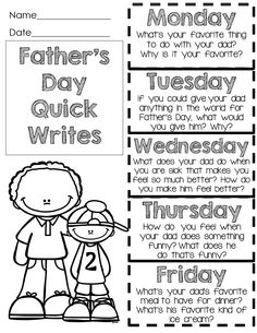 Father's Day Freebie Quick Writes – Halloween Ideas – Grandcrafter – DIY Christmas Ideas ♥ Homes Decoration Ideas 1st Grade Writing, Kindergarten Writing, Teaching Writing, Literacy, Father's Day Activities, Teaching Activities, Fathers Day Crafts, Happy Fathers Day, Daddy
