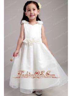 f3a5eaf1692 White A-line Straps Ankle-length Taffeta and Organza Hand Made Flowers  Flower Girl Dress