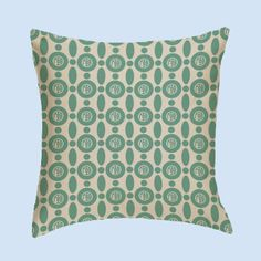 Greek Graffiti's Gamma Phi Beta 20X20 Geometric Print Pillow In Seafoam Green And Beige. Available In Knit And Canvas.