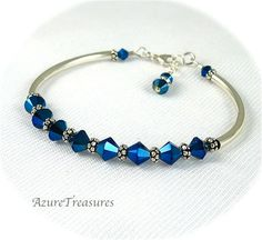 Peacock Blue Crystal Bracelet Sapphire Blue by AzureTreasures, $42.00
