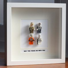 Star Wars Lego Mini Figures 'Hoth Battle' Framed - 'May The Force Be With You'