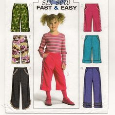 """A Pull-On Pants with Length, Hemline and Trim Variations Pattern for Children: Uncut - Sizes 2-3-4-5, Waist 20"""" - 21-1/2"""" ~ Butterick 4845 by SoSewSome on Etsy"""