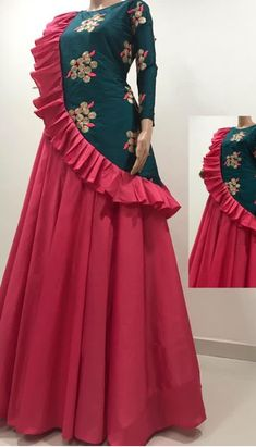 Best 12 different designs – SkillOfKing. Designer Party Wear Dresses, Kurti Designs Party Wear, Lehenga Designs, Indian Designer Outfits, Long Dress Design, Dress Neck Designs, Stylish Dresses, Fashion Dresses, Long Gown Dress