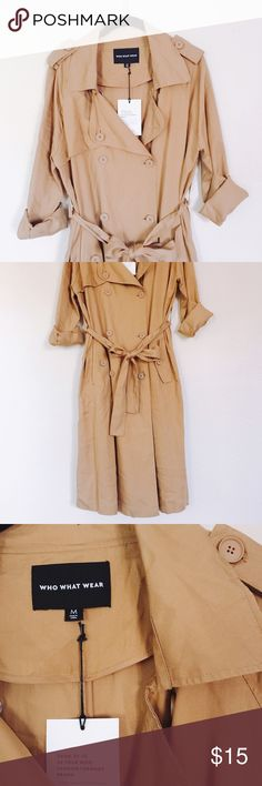 Who What Wear | Brown Light Trench Coat A long brown trench coat (light) by Who What Wear! It's new with tags! Please see pictures for reference and comment below for any questions! Who What Wear Jackets & Coats Trench Coats