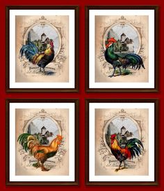 4 Prints, Entire Series, 8x10, French Country Roosters, Colorful, Kitchen Art, Country Decor