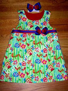 Happy Garden Friends Toddler ALine Dress with by kutekidskreations, $32.95