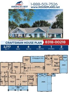 This Craftsman design is a must see! Plan 8318-00218 is featured with 3,777 sq. ft., 4 bedrooms, 4 bathrooms, an in-law suite, a breakfast nook, and an office. Find more information about this plan on our website. Craftsman Style Homes, Craftsman House Plans, Master Suite Bedroom, Porch Kits, Floor Plan Drawing, Cost To Build, Best House Plans, Build Your Dream Home, In Law Suite