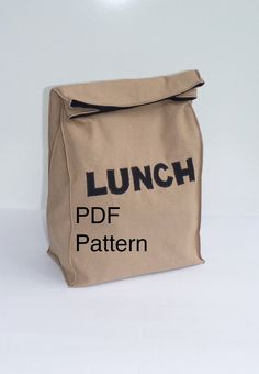 Lunch Bag PDF Pattern How to Sew Cloth Lunch Bag Fabric paper bag Lunch applique Instant Download by Bontons on Etsy