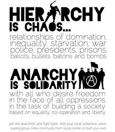 上:「ヒエラルキー(階級)は混沌としている・・・ 支配の関係、不平等、飢餓、戦争、警察、 社長、刑務所、投票、弾丸、警棒、爆弾  下:「アナーキーは結束(団結・連帯)である。 自由を望み、すべての抑圧に直面し、平等と協力と自由に基づいた社会を形成する事に従事する全ての人にとって。  アナーキストに参加して、反撃だ。 あなたの地元の集団的なもの・・・労働組合、読書グループ、市民兵、コミュニティー農場、社会の中心的なもの、あるいは、あなた自身から始める事!