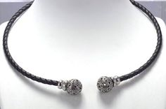 Exquisite torques necklace in leather and sterling silver, handmade in Galicia. Artcraft of The Way of Saint James. Tax free $74.90
