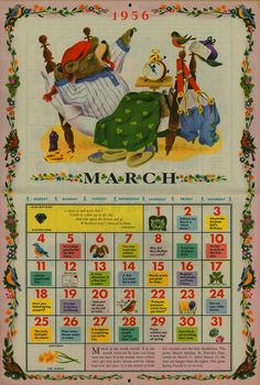 "Richard Scarry 1956 March illustration from ""The Golden Calendar""."