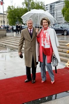 King Philippe and Queen Mathilde of Belgium arriving at King Harald's 80th birthday celebration